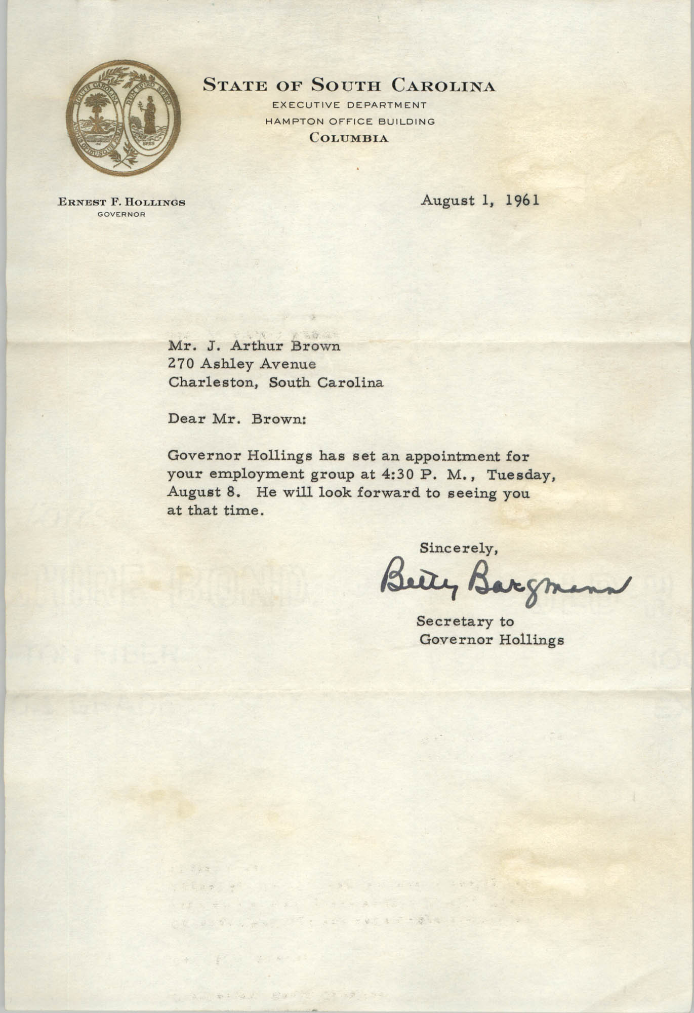 Letter from the Office of Ernest P. Hollings to J. Arthur Brown, August 1, 1961