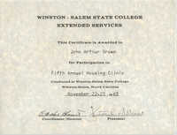 Winston-Salem State College Extended Services Award for J. Arthur Brown