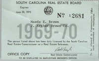 South Carolina Real Estate Board Membership Card for