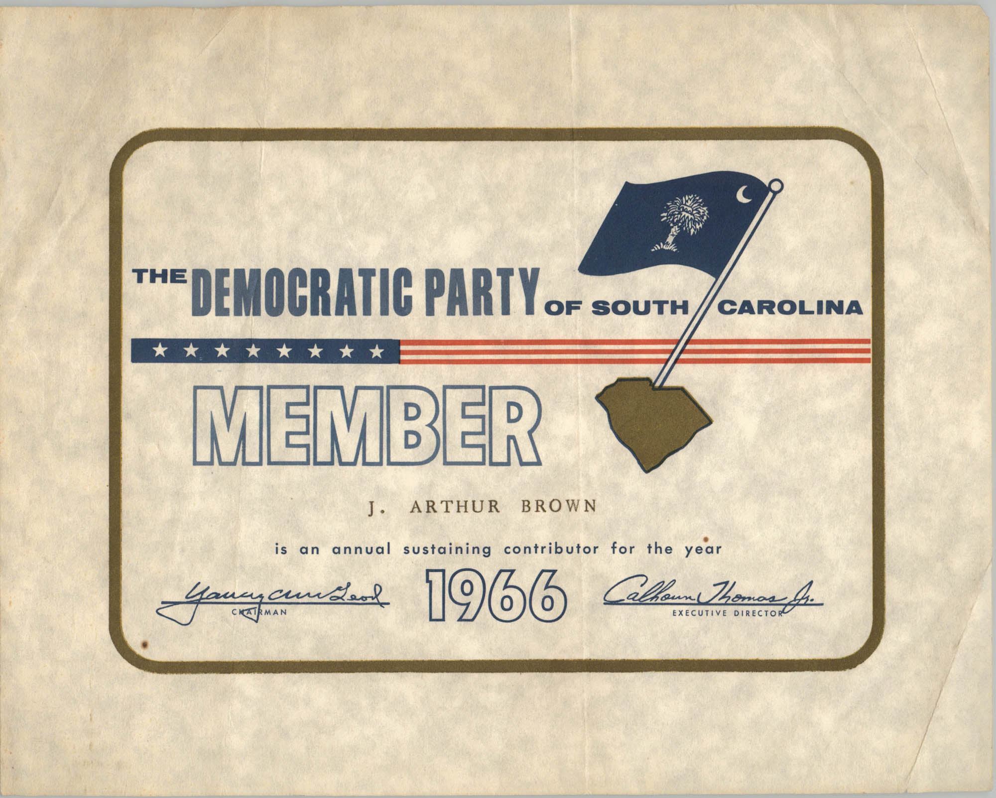 The Democratic Party of South Carolina Membership Card for J. Arthur Brown