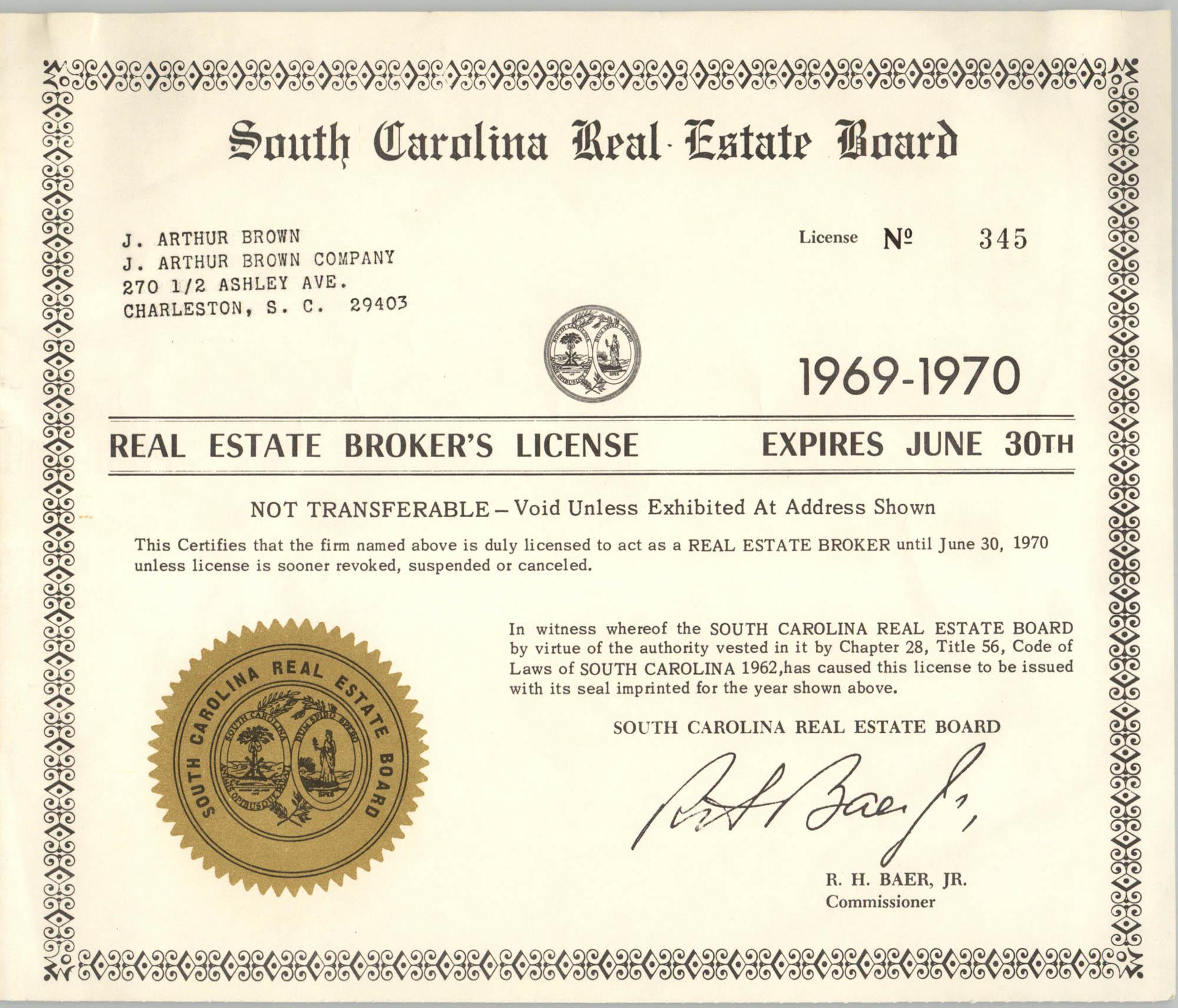 South Carolina Real Estate Board Real Estate Broker's License for J. Arthur Brown