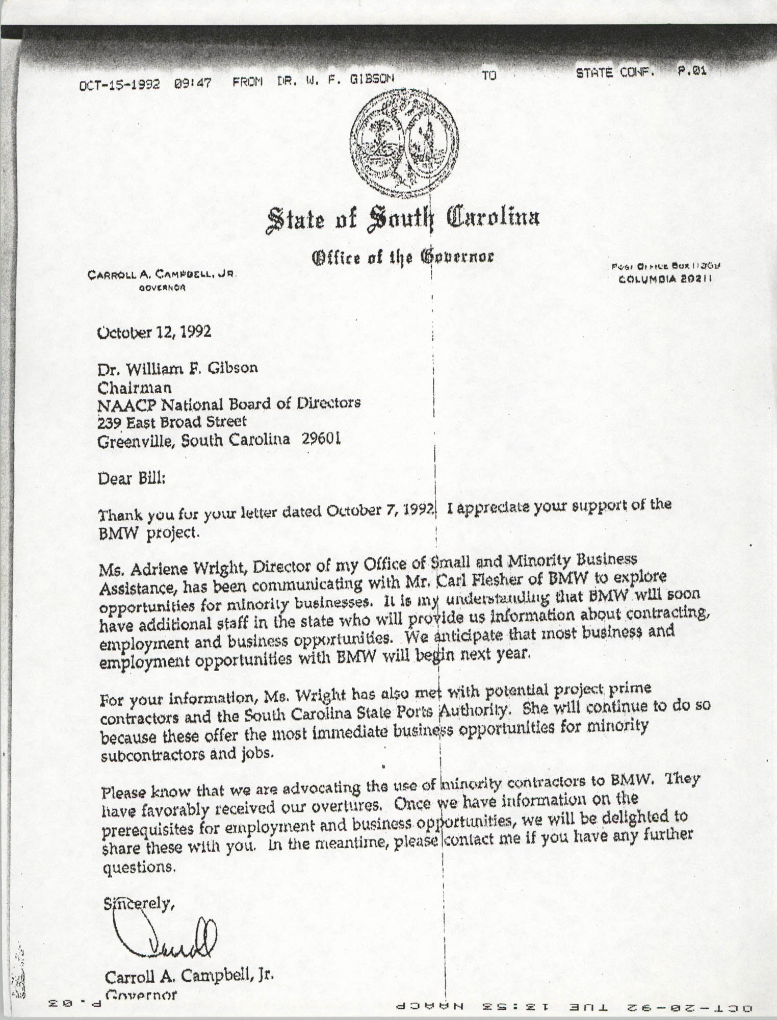 Letter from Carroll A. Campbell, Jr. to William F. Gibson, October 12, 1992