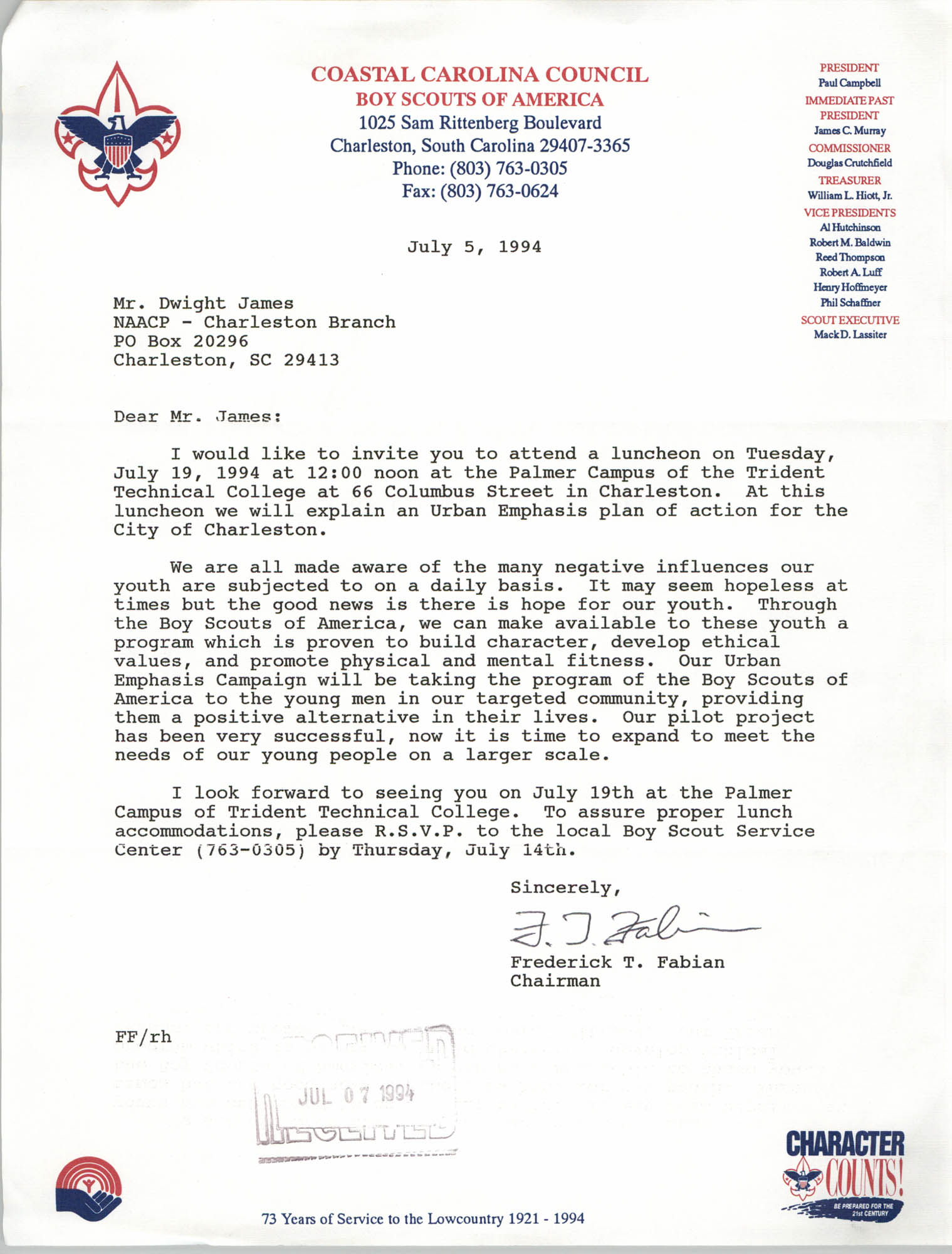Letter from Frederick T. Fabian to Dwight James, July 5, 1994