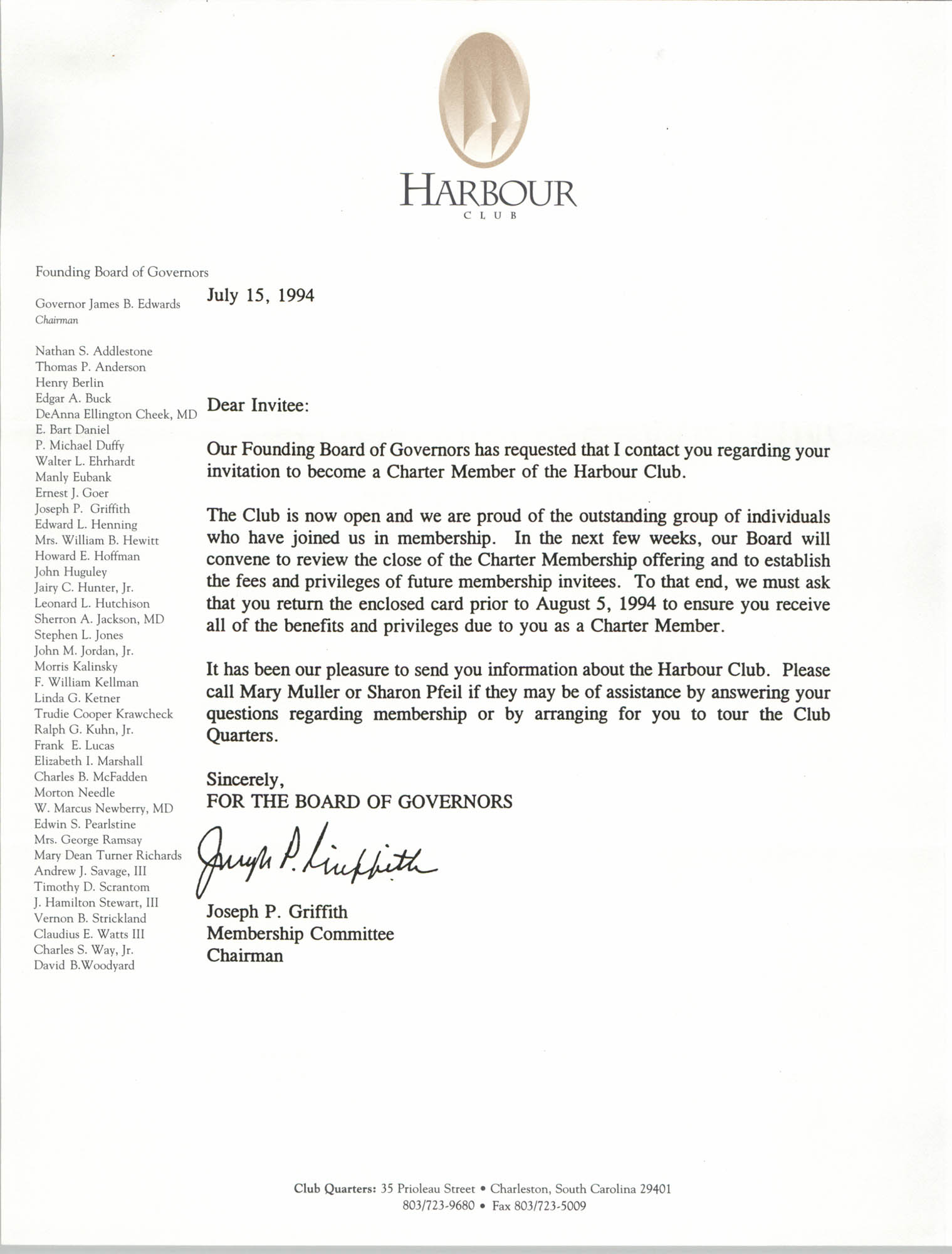 Letter from Joseph P. Griffith, July 15, 1994