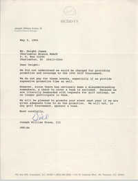 Letter from Joseph William Evans, III to Dwight James, May 5, 1994