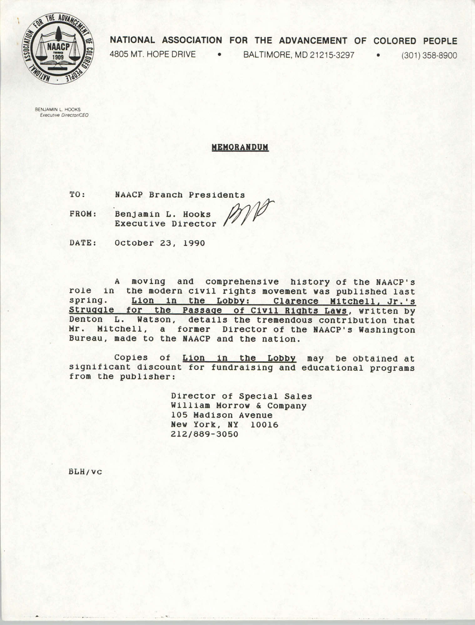 NAACP Memorandum, October 23, 1990