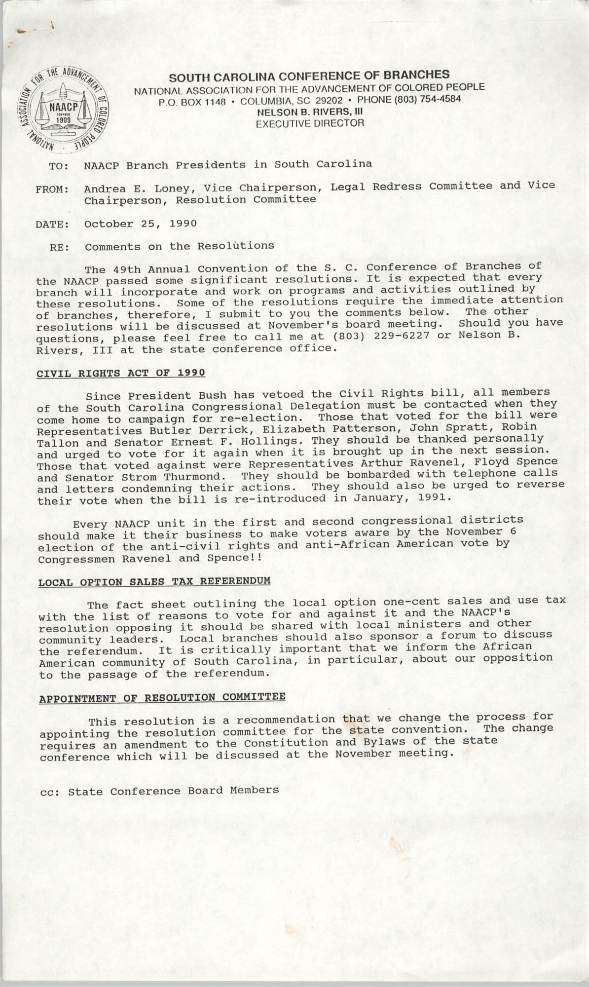 South Carolina Conference of Branches of the NAACP Memorandum, October 25, 1990