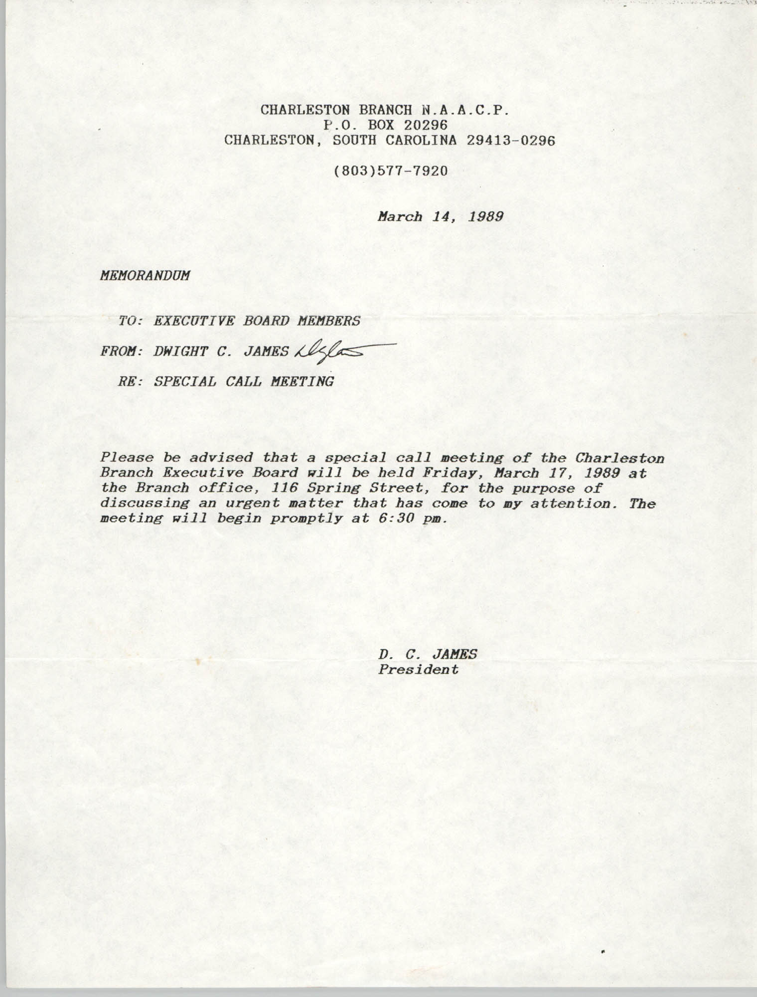 Charleston Branch of the NAACP Memorandum, March 14, 1989