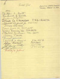 Sign-in Sheet, Charleston Branch of the NAACP, Executive Board Meeting, March 7, 1989