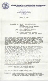 NAACP Memorandum, August 31, 1984