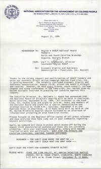 NAACP Memorandum, August 31, 1984
