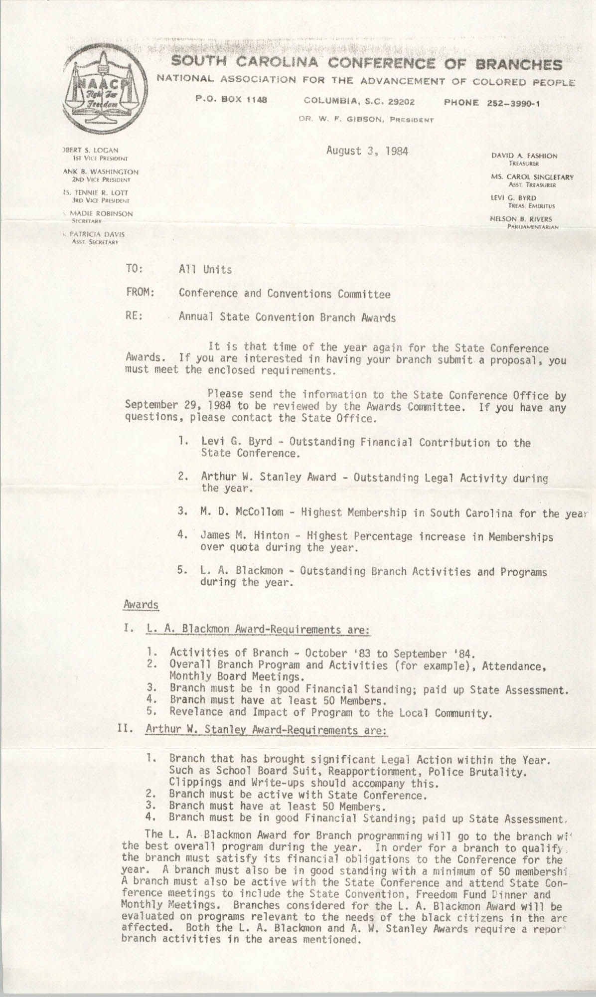 South Carolina Conference of Branches of the NAACP Memorandum, August 3, 1984