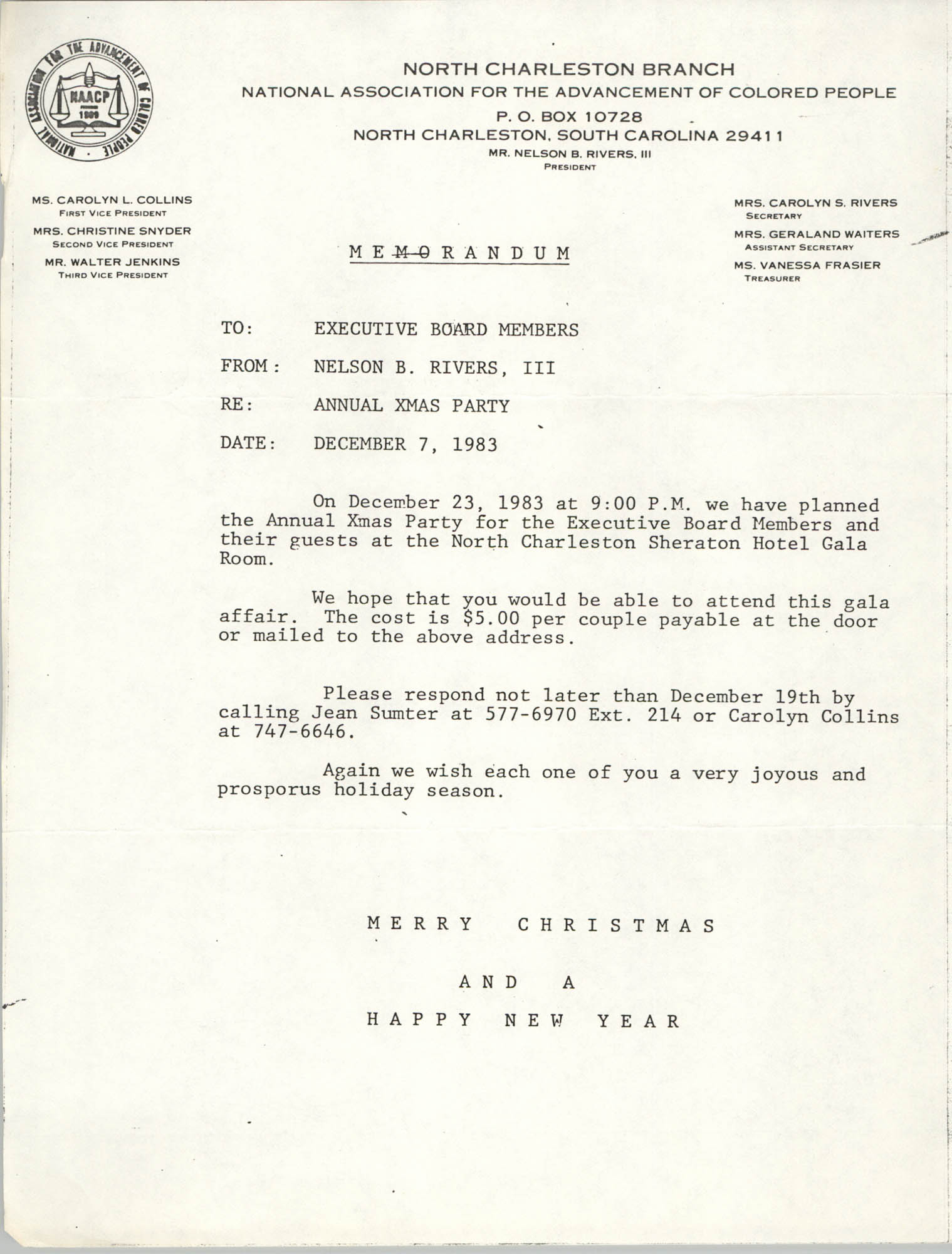 North Charleston Branch of the NAACP Memorandum, December 7, 1983