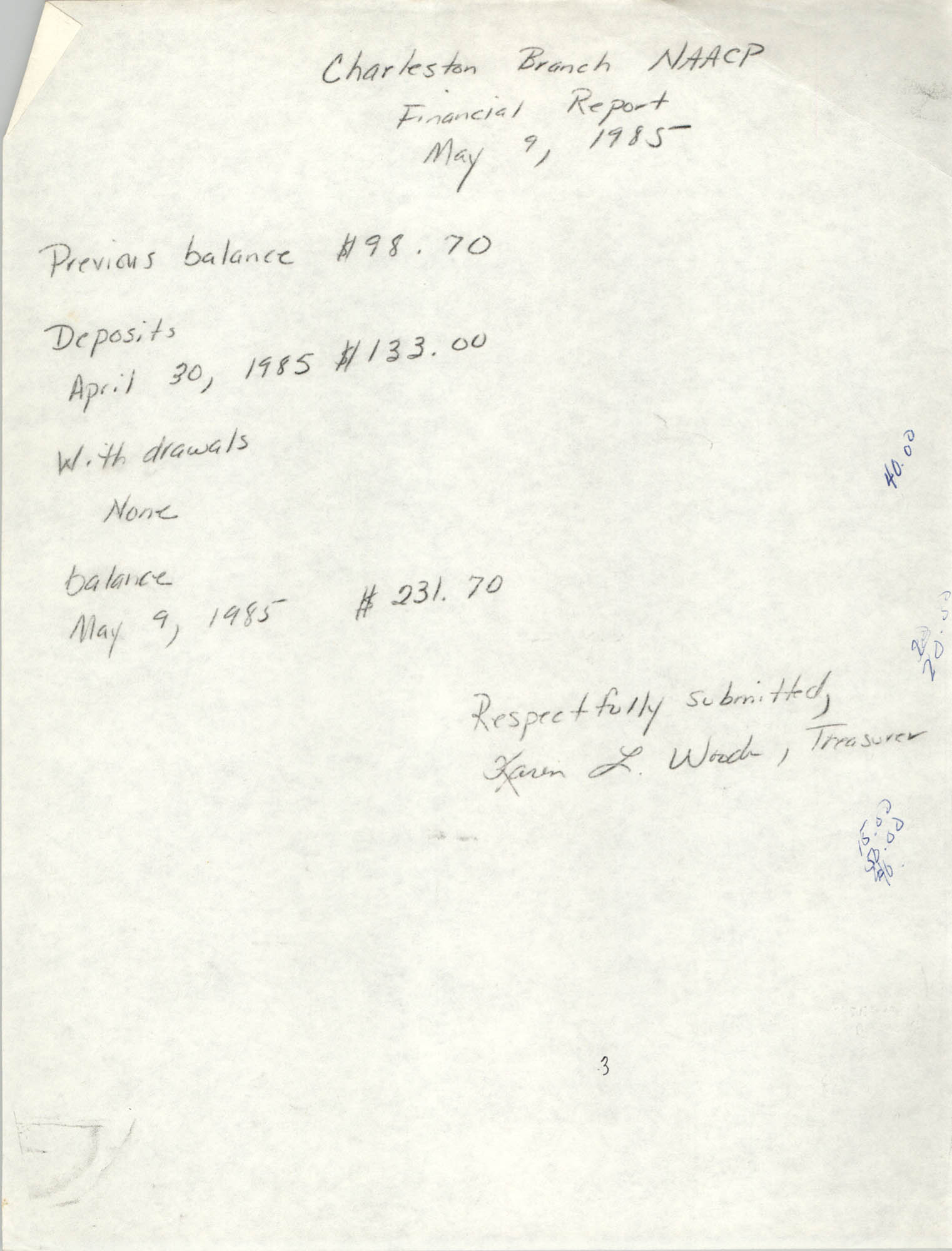 Charleston Branch of the NAACP Financial Report, May 9, 1985