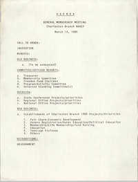 Agenda, General Membership Meeting of the Charleston Branch of the NAACP, March 13, 1985