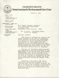 Charleston Branch of the NAACP Memorandum, August 9, 1982