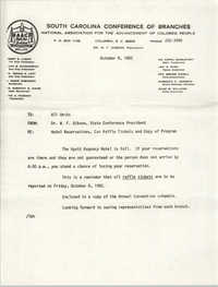 South Carolina Conference of Branches of the NAACP Memorandum, October 4, 1982