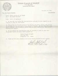 Edisto Branch of the NAACP Memorandum, November 29, 1982