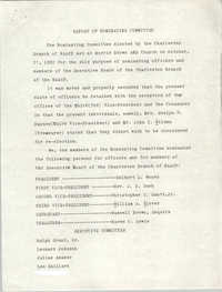 Charleston Branch of the NAACP Report of Nominating Committee, October 21, 1982