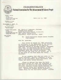 Charleston Branch of the NAACP Memorandum, September 14, 1982