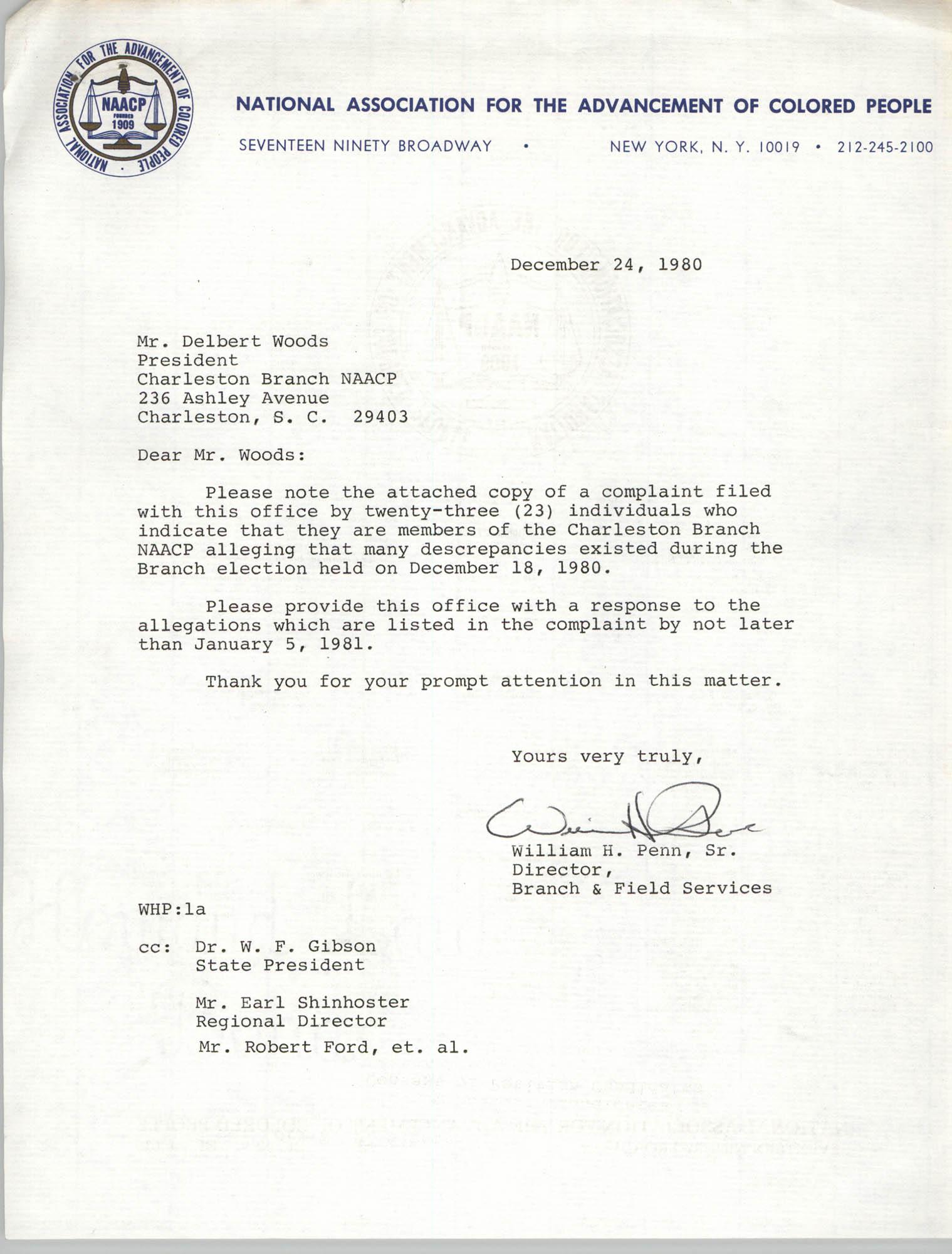 NAACP Memorandum, December 24, 1980