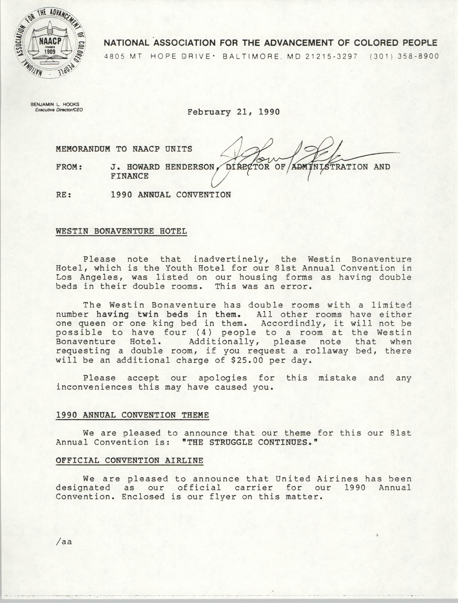NAACP Memorandum, February 21, 1990