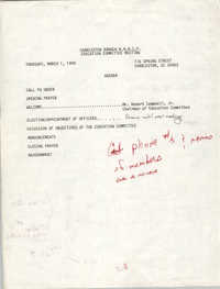 Charleston Branch of the NAACP Education Committee Agenda, March 1, 1990