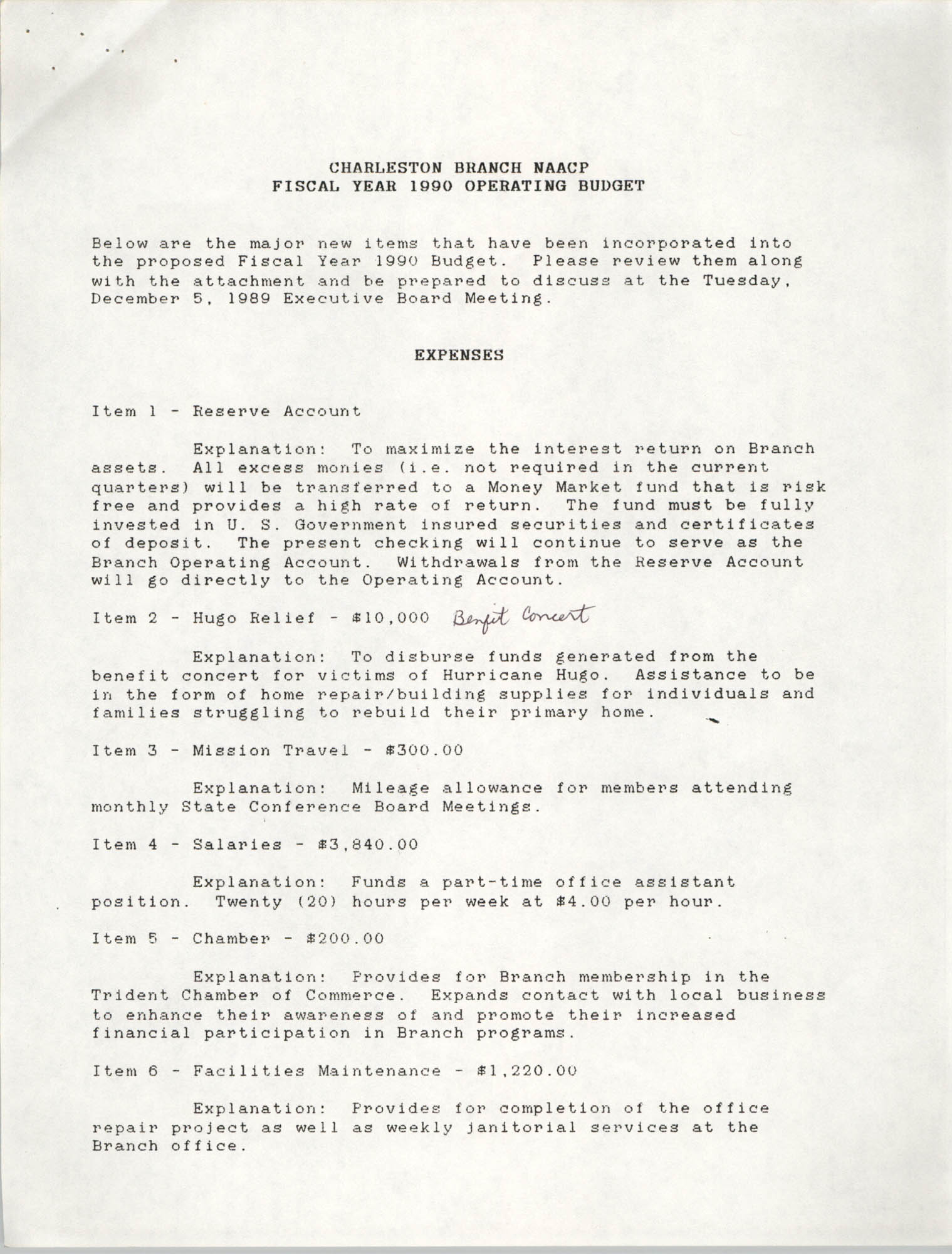 Charleston Branch of the NAACP, Fiscal Year 1990 Operating Budget