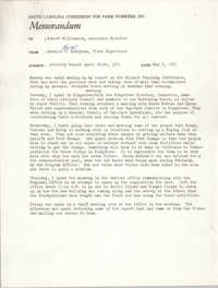 Memorandum from Bernice V. Robinson to Robert Williamson, May 3, 1971
