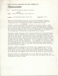 Memorandum from Bernice V. Robinson to Robert Williamson, May 3, 1971