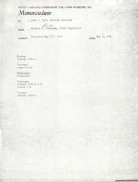 Memorandum from Bernice V. Robinson to John Cole, May 3, 1971