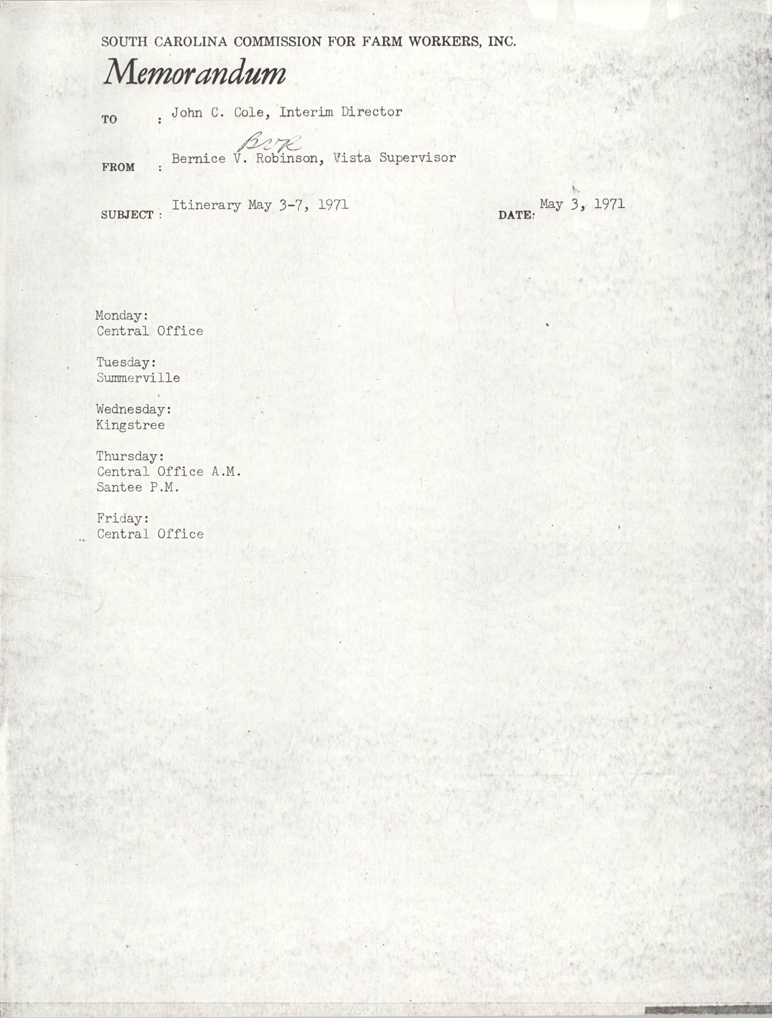 Memorandum from Bernice V. Robinson to John Cole, May 3, 1971