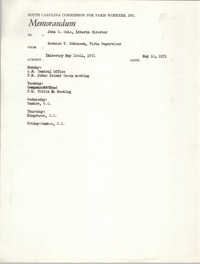 Memorandum from Bernice V. Robinson to John Cole, May 10, 1971