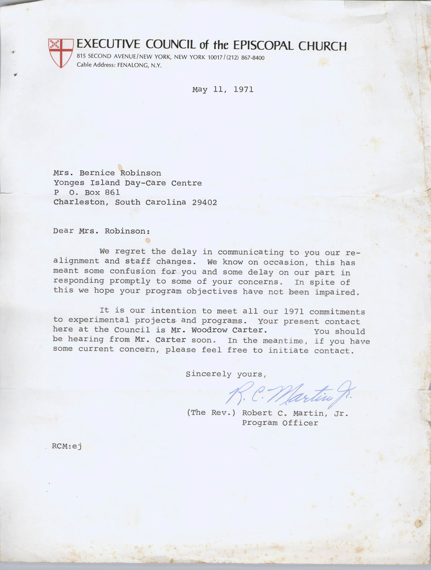 Letter from Robert C. Martin, Jr. to Bernice Robinson, May 11, 1971