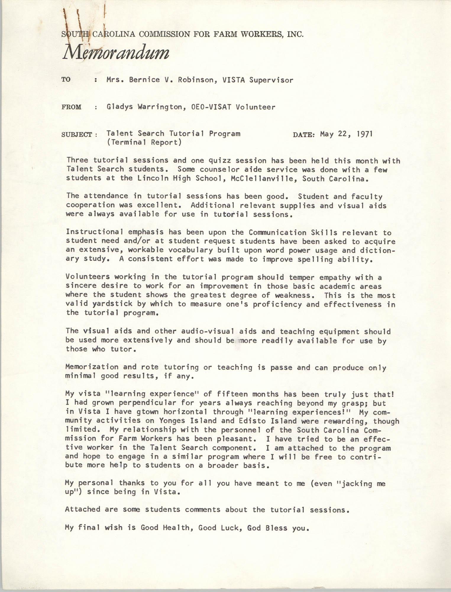 Memorandum from Gladys Warrington to Bernice Robinson, May 1971
