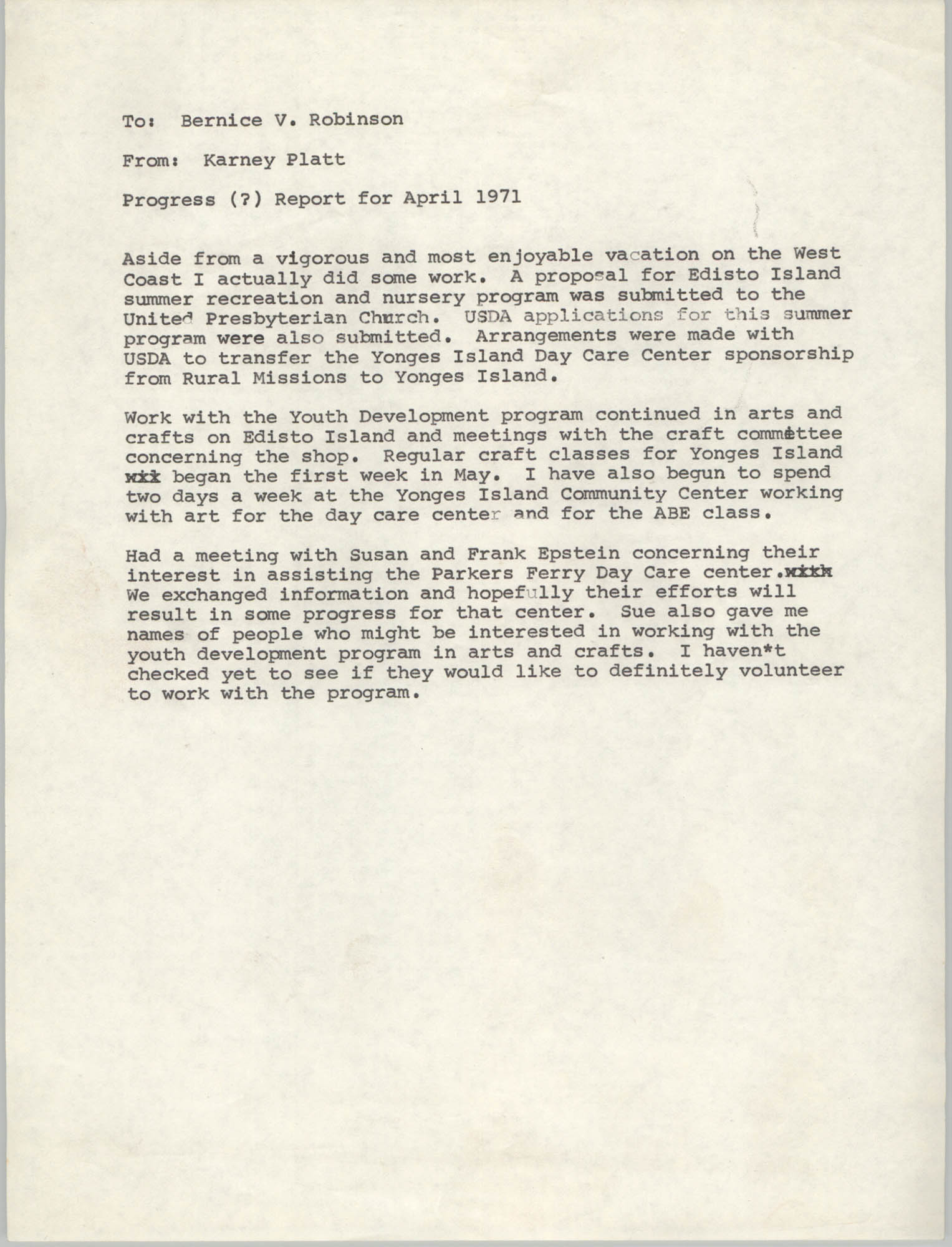 VISTA Progress Report, April 1971
