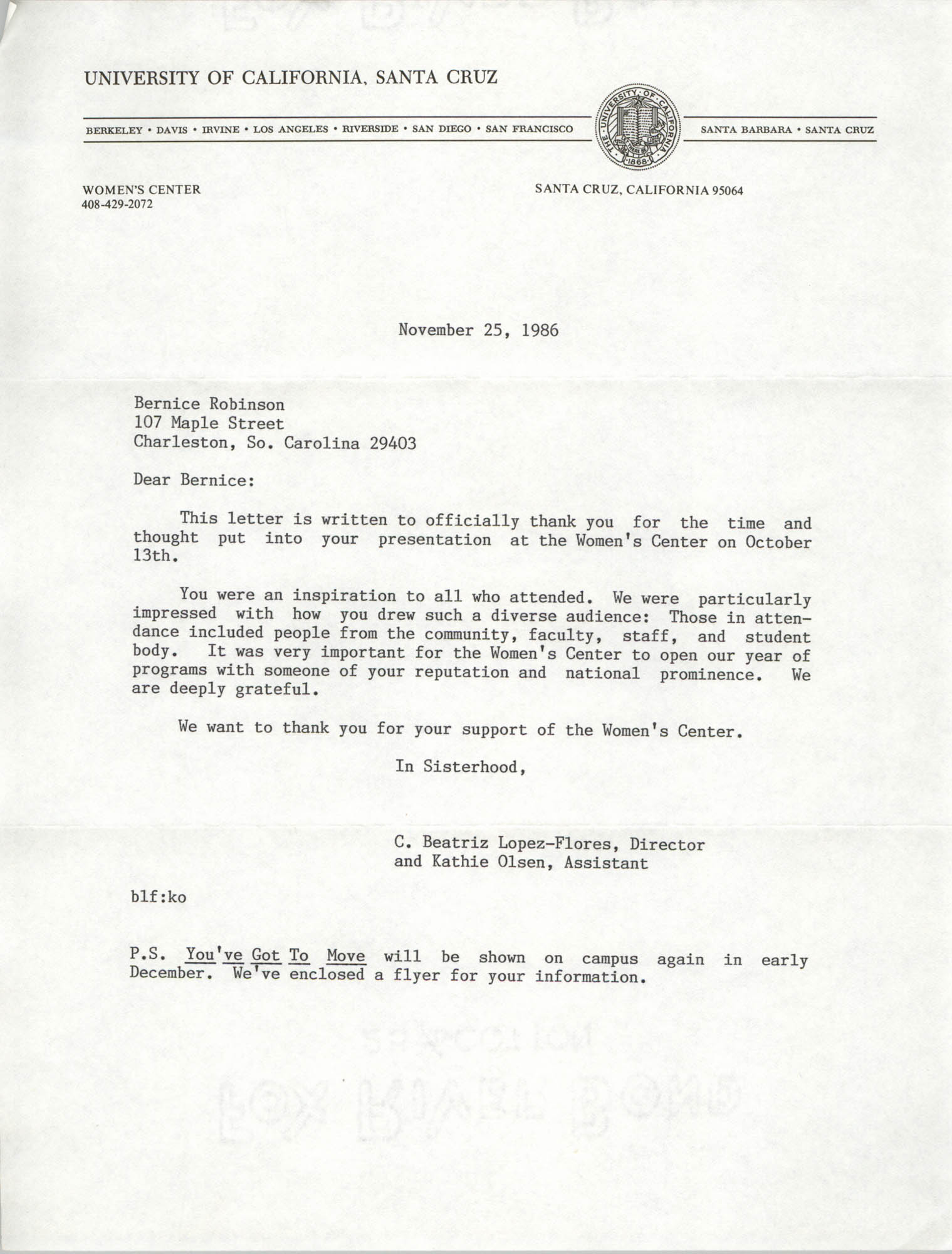 Letter from C. Beatriz Lopez-Flores and Kathie Olsen to Bernice Robinson, November 25, 1986