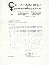 Letter from Betty Jean Hall to Bernice Robinson, January 27, 1986
