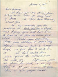 Letter from Guy and Candie Carawan to Bernice Robinson, March 9, 1988