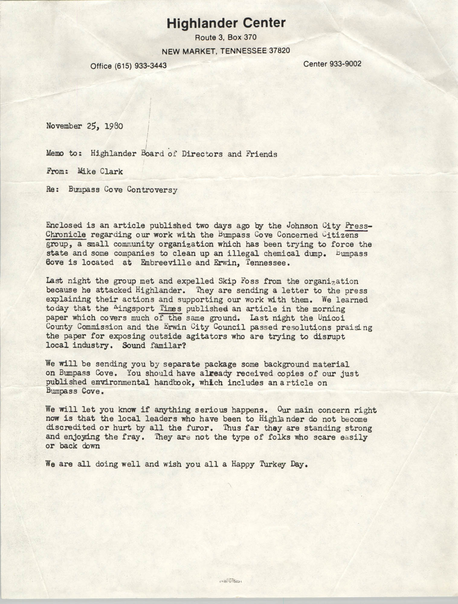 Memorandum from Mike Clark to Highlander Board of Directors and Friends, November 25, 1980