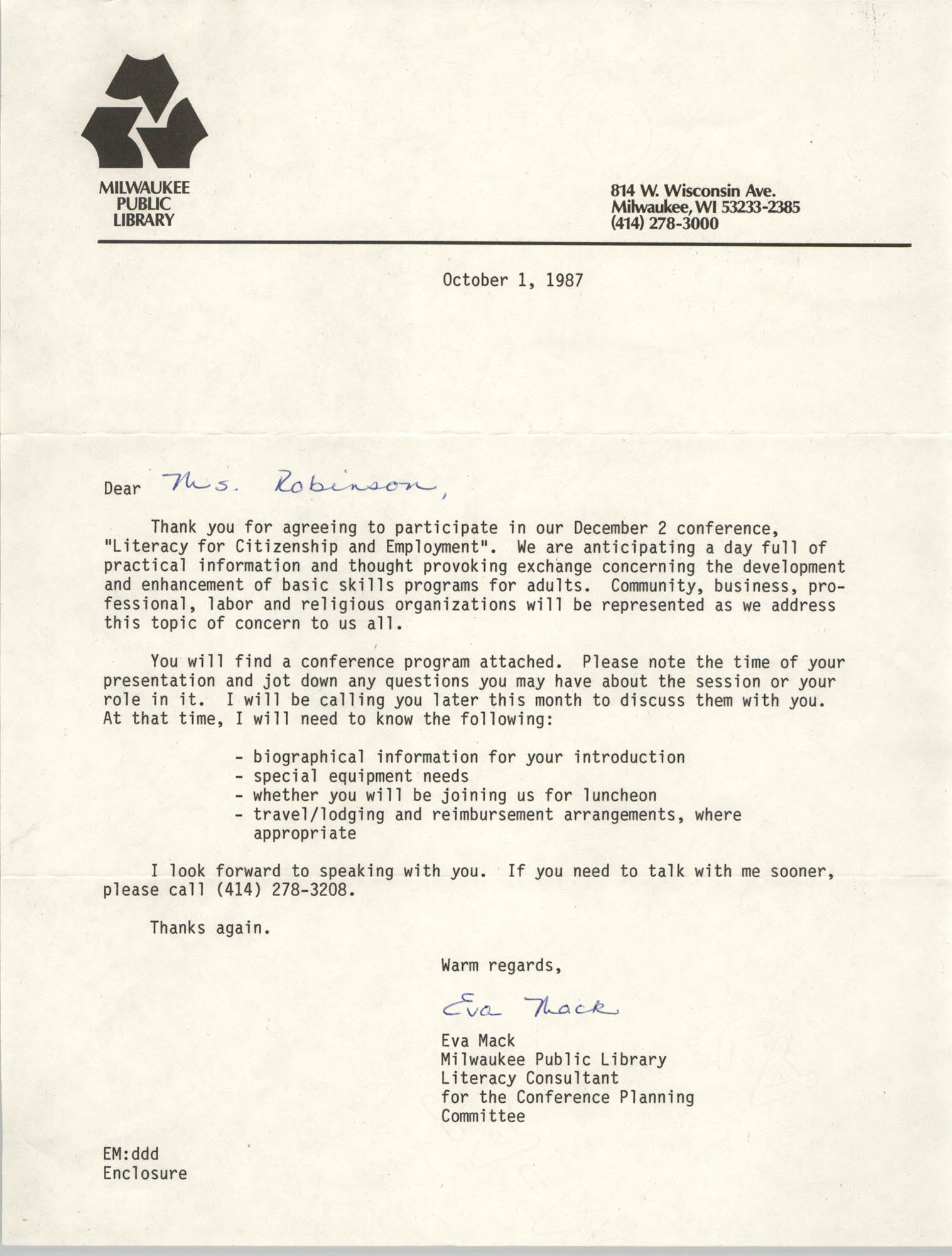 Letter from Eva Mack to Bernice Robinson, October 1, 1987