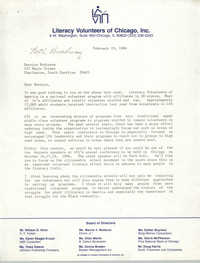 Letter from George Hagenauer to Bernice Robinson, February 19, 1986