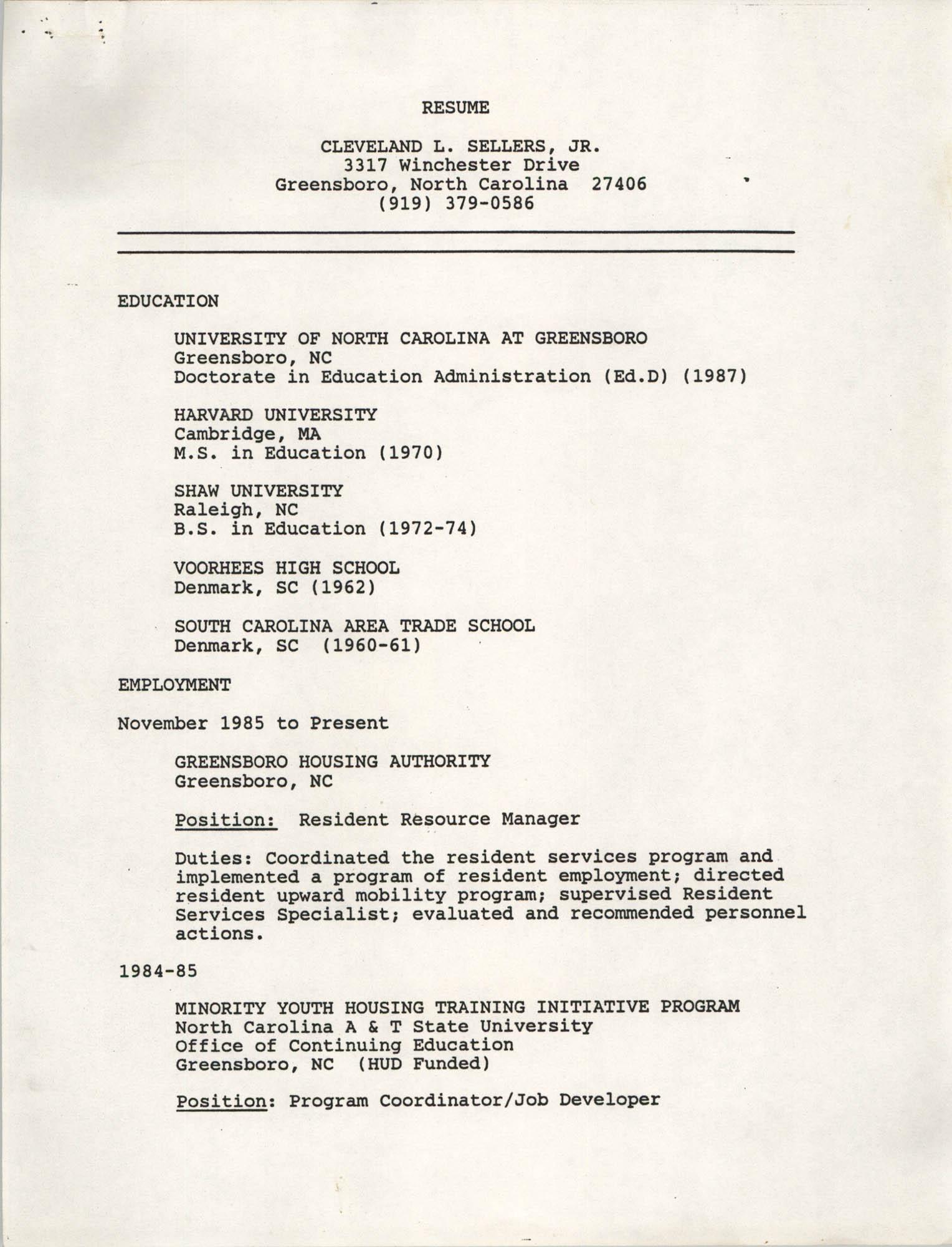 Cleveland L. Sellers, Jr. Resume