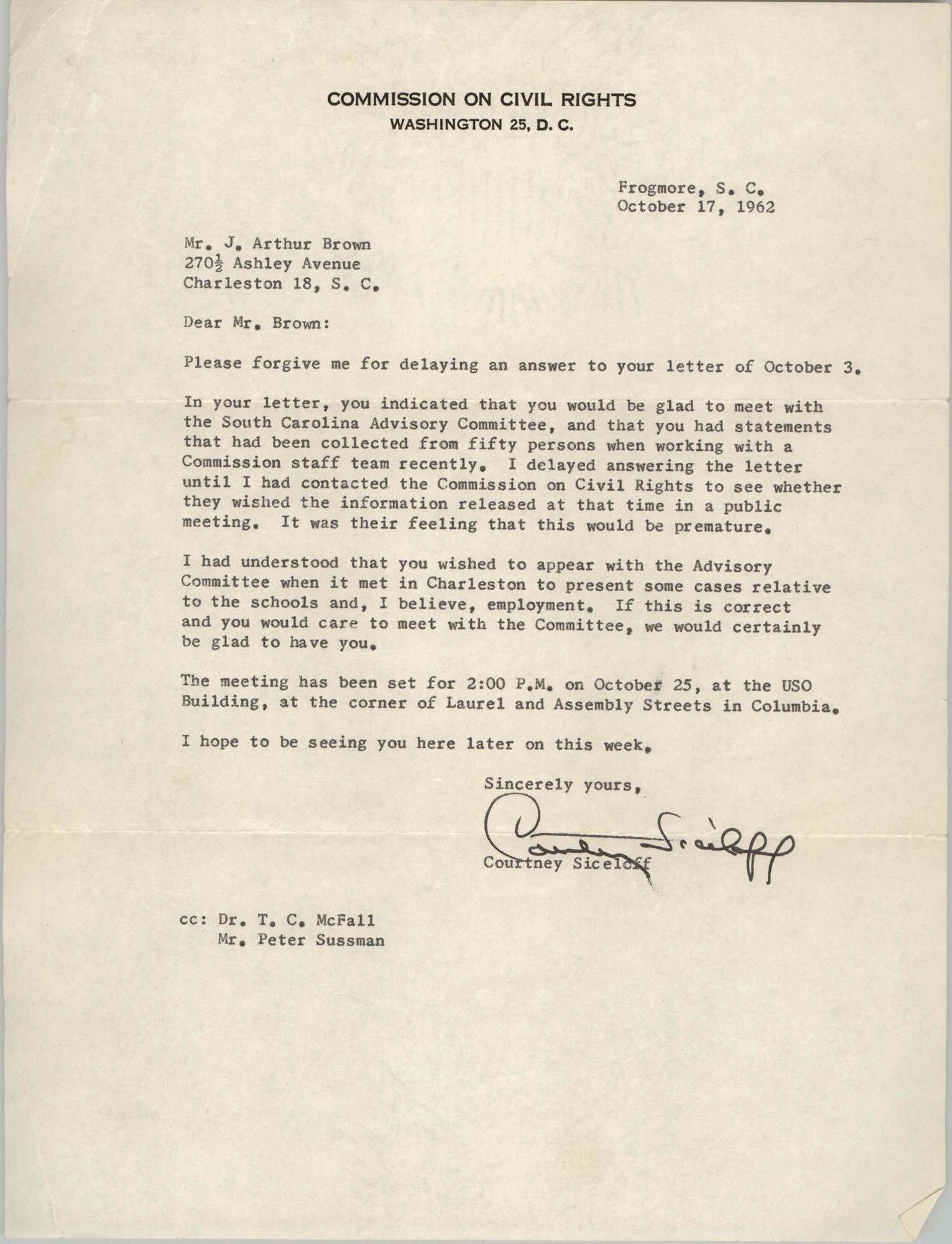 Letter from Courtney Siceloff to J. Arthur Brown, October 17, 1962
