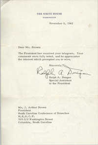 Letter from Ralph A. Dungan to J. Arthur Brown, November 6, 1962