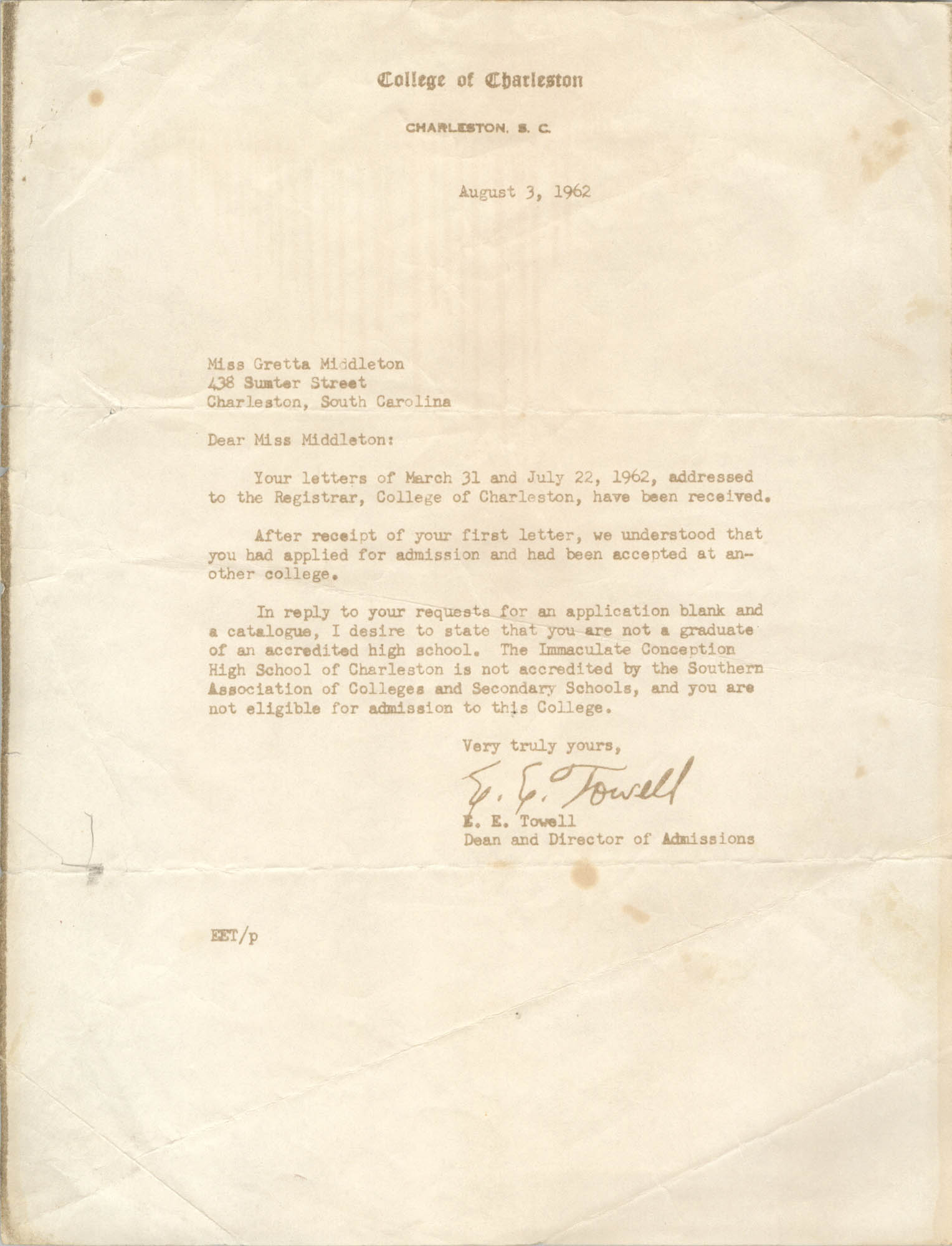Letter from E. E. Towell to Gretta Middleton, August 3, 1962