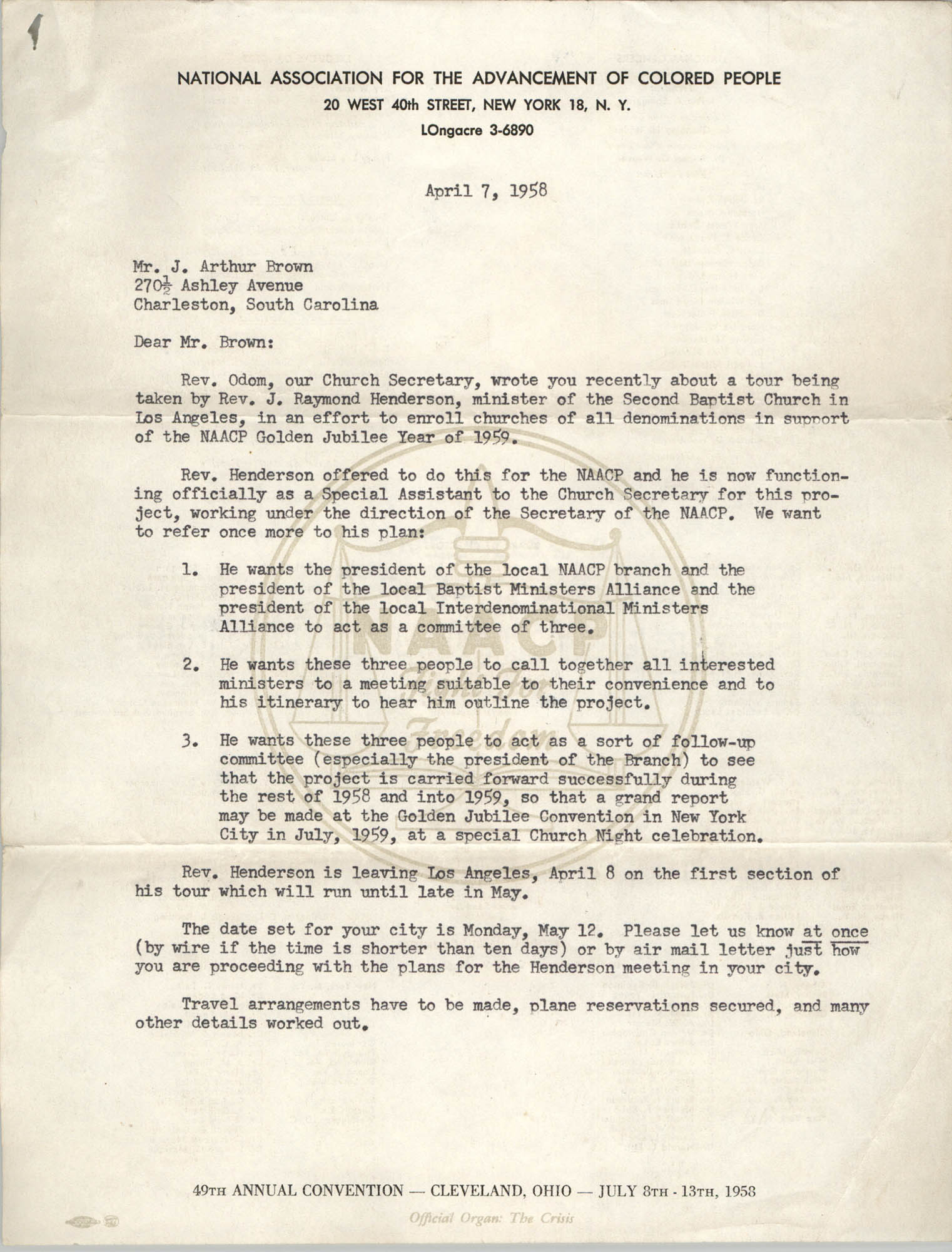 NAACP Memorandum, April 7, 1958