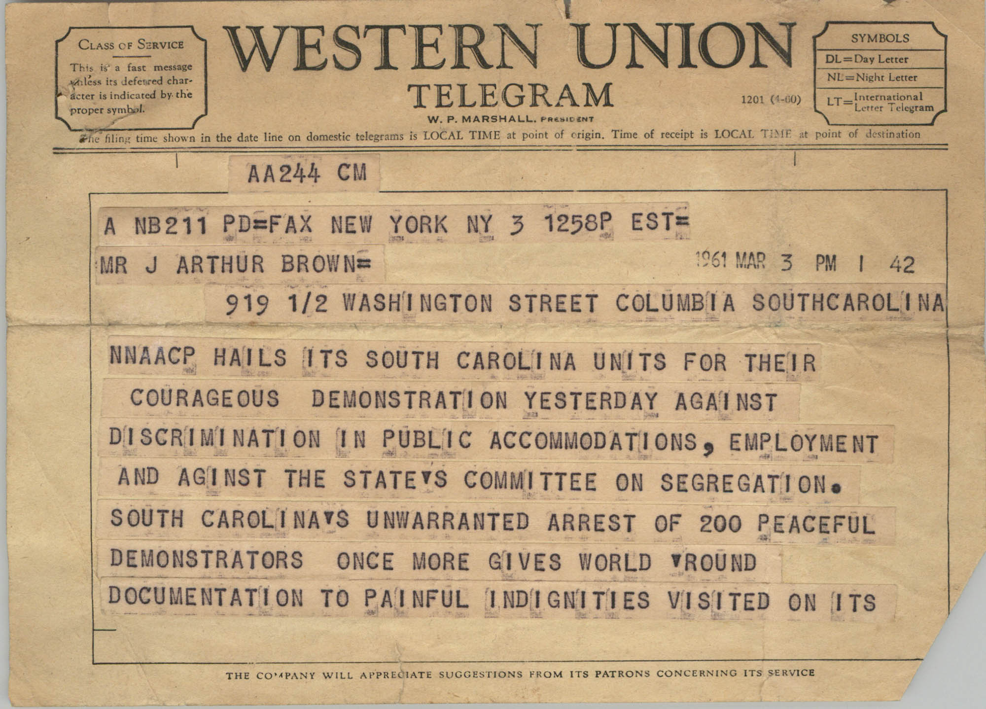 Telegram from Roy Wilkins to J. Arthur Brown, March 3, 1961