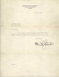 Letter from Olin D. Johnston to J. Arthur Brown, June 21, 1937