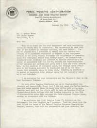 Letter from Hubert M. Jackson to J. Arthur Brown, October 11, 1965